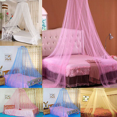 White Pink Blue Round Lace Curtain Dome Bed Canopy Netting ...