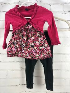 08ccebf3ca BABY GAP OUTFIT Flower Top + Cardigan Sweater + Knit Leggings Girls ...