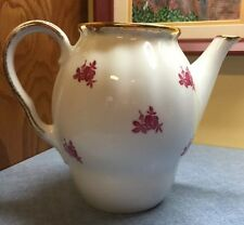 Vintage Arabia of Finland Coffee Tea Pot Porcelain w/ red roses gold trim no lid