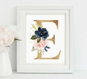 Azul Marino Rosa Oro Monograma Vivero Pared Arte, impresión inicial de rubor 623-A Personalizado