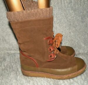 8f6a761f0af1 Women s Tory Burch Suede winter snow boots brown lace up sz 6 M ...