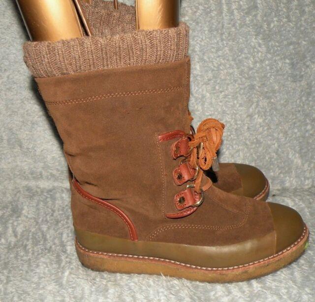 3d9ac157ec0 Women s Tory Burch Suede winter snow boots brown lace up sz 6 M crepe sole