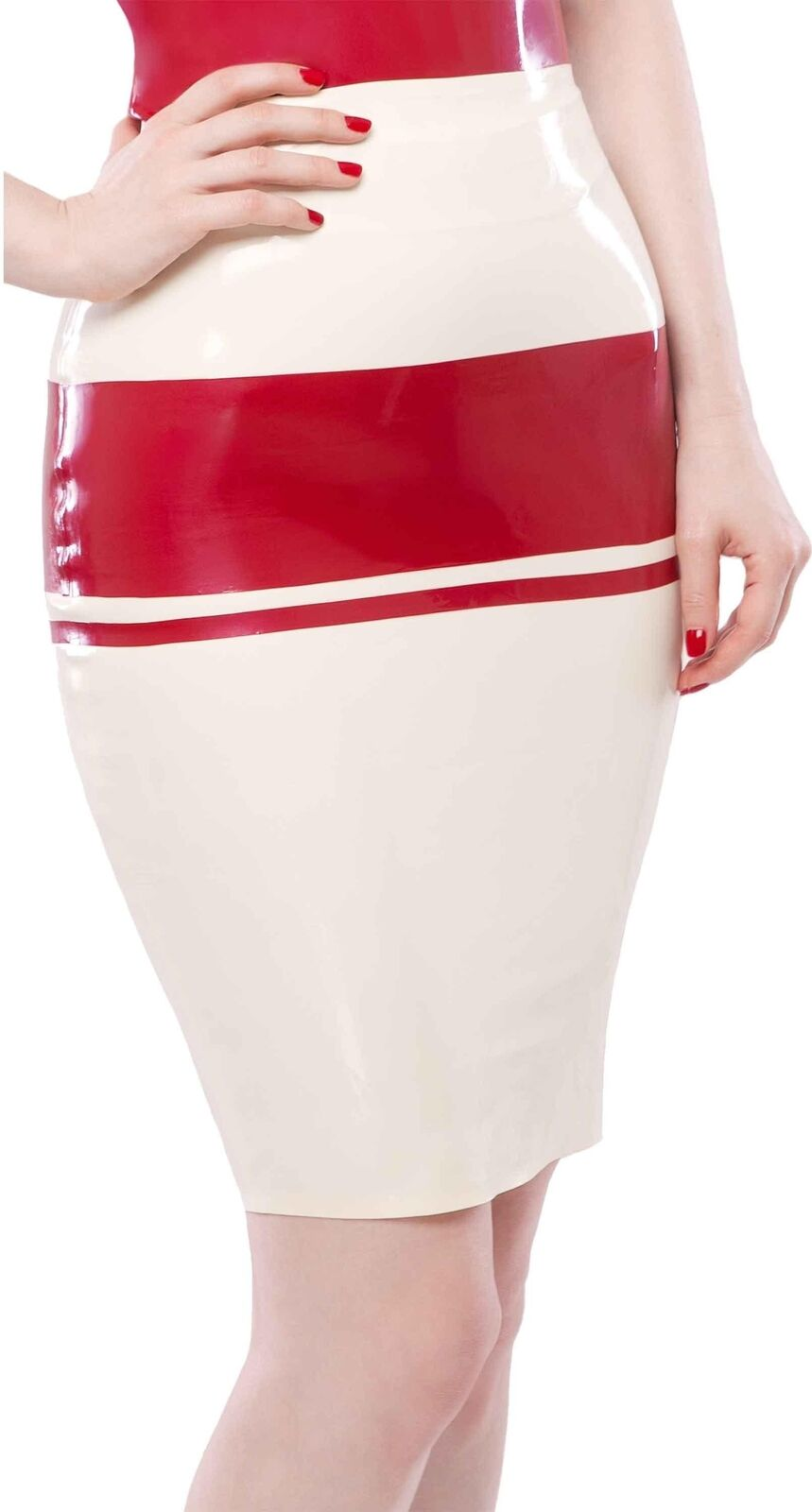 Westward Bound Panel Latex Pencil Skirt Warm White with Pearl Sheen Red Trim