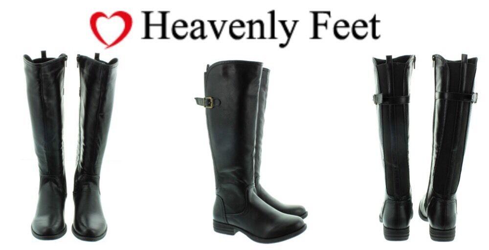 Botas De Señoras Botas Negras Heavenly Feet Nikki Tamaño de espuma de memoria Eu37 Nuevo
