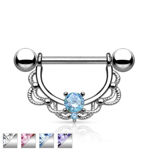 "Pair of CZ Centered Fligree Drop Surgical Steel Nipple Rings Barbells 14G 5//8/"""