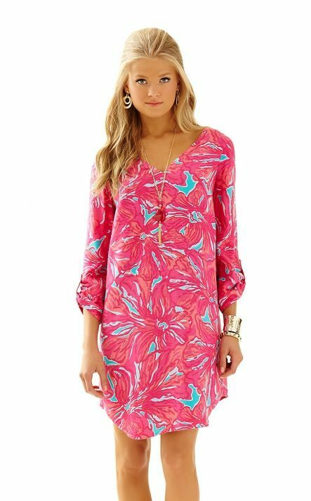New Lilly Pulitzer ARIELLE TUNIC DRESS in Sea bluee Flirty Sea Print Pink XS