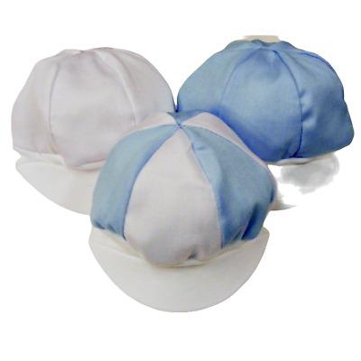 Nouveau bébé garçon blanc//bleu Pique Coton Chapeau-Made in UK 0-6 mois