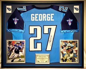 brand new 8db17 84b14 Details about Premium Framed Eddie George Autographed / signed Titans  Jersey JSA COA