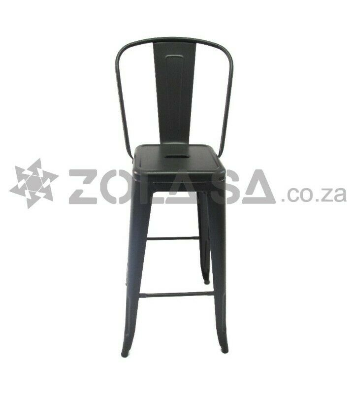 Tolix Bar Chair With High Back -Black/White/Red