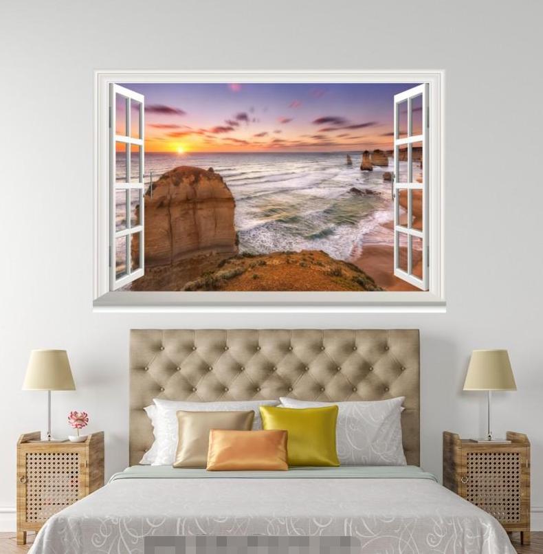 3D Sunset Waves 66 Open Windows Mural Wall Print Decal Deco AJ Wallpaper Ivy