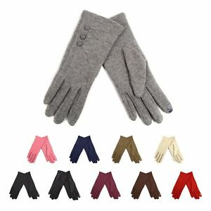 Ladies-Smartphone-Accessible-Winter-Gloves-with-Button-Accents-Touch-Screen-Use