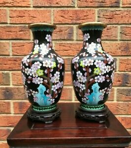 A-Pair-Of-Mid-20thc-Chinese-Cloisonne-Vase-Full-Flowers-Painted-26-5cm-tall