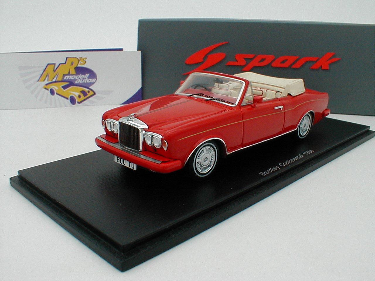 SPARK s3824-Bentley Continental Cabrio anno di costruzione 1984  rossometallic  1 43 NUOVO