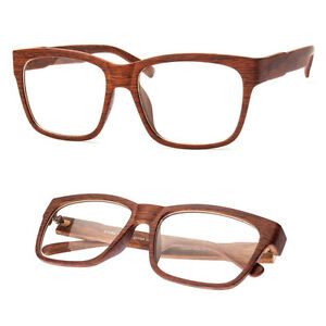 Wood Print Flat Top  Glasses Hipster Indie Fashion Clear Lens Frames NEW