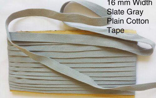 Slate Gray 16mm wide Cotton PLAIN GROSSGRAIN twill Webbing Tape Strap fabric