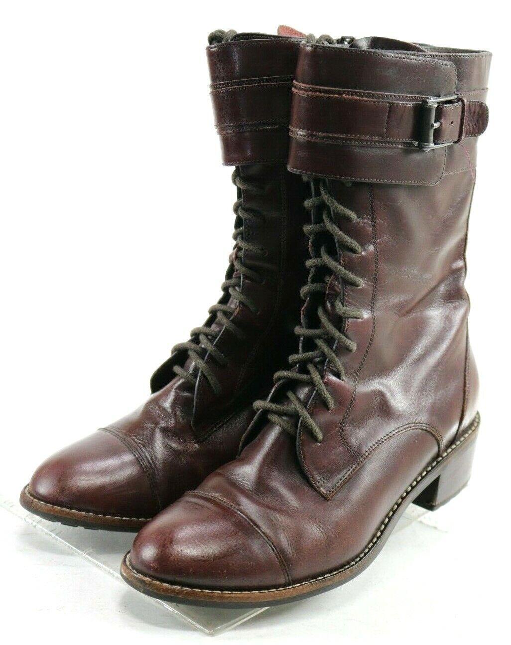 Cole Haan NIK Air  140 Women's Cap Toe Boots Size 7.5 Leather Burgundy