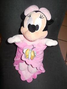 doudou peluche Minnie rose + couverture avec papillon DISNEY NICOTOY 34cm