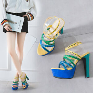 Women-Ladies-Peep-Toe-Platform-Buckle-Ankle-Strap-Sandals-High-Block-Heels-Shoes