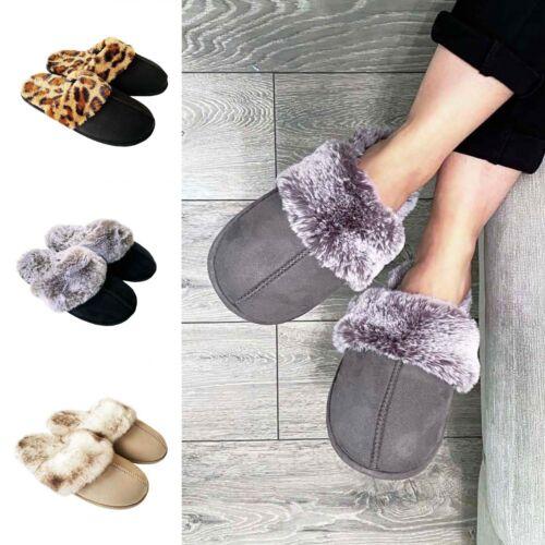 Womens Ladies Slip On Faux Fur Memory Foam Leopard Grey Black Beige Slippers 4-9