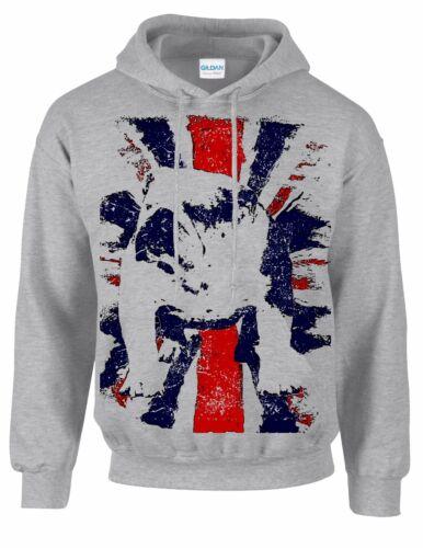 Bulldog breed dog  British Bulldog union jack vintage style print pet hoodie