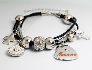 White gold charm name joanne bracelet birthday christmas easter image is loading white gold charm name joanne bracelet birthday christmas negle Gallery