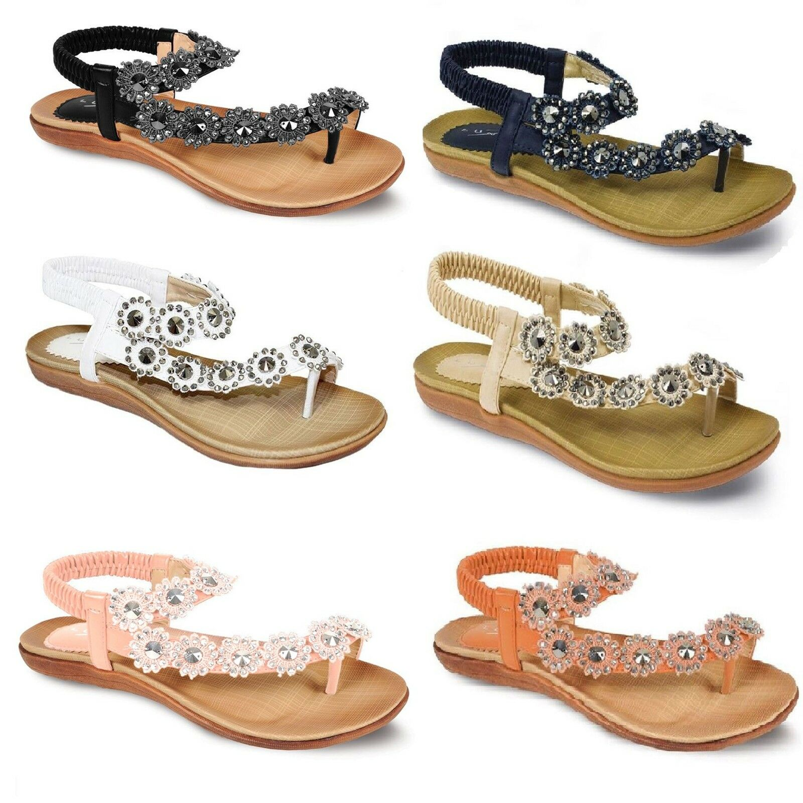 Ladies Diamante Casual Flower Sandals Women's Comfy Casual Diamante Summer Strapped Shoes 8073dd