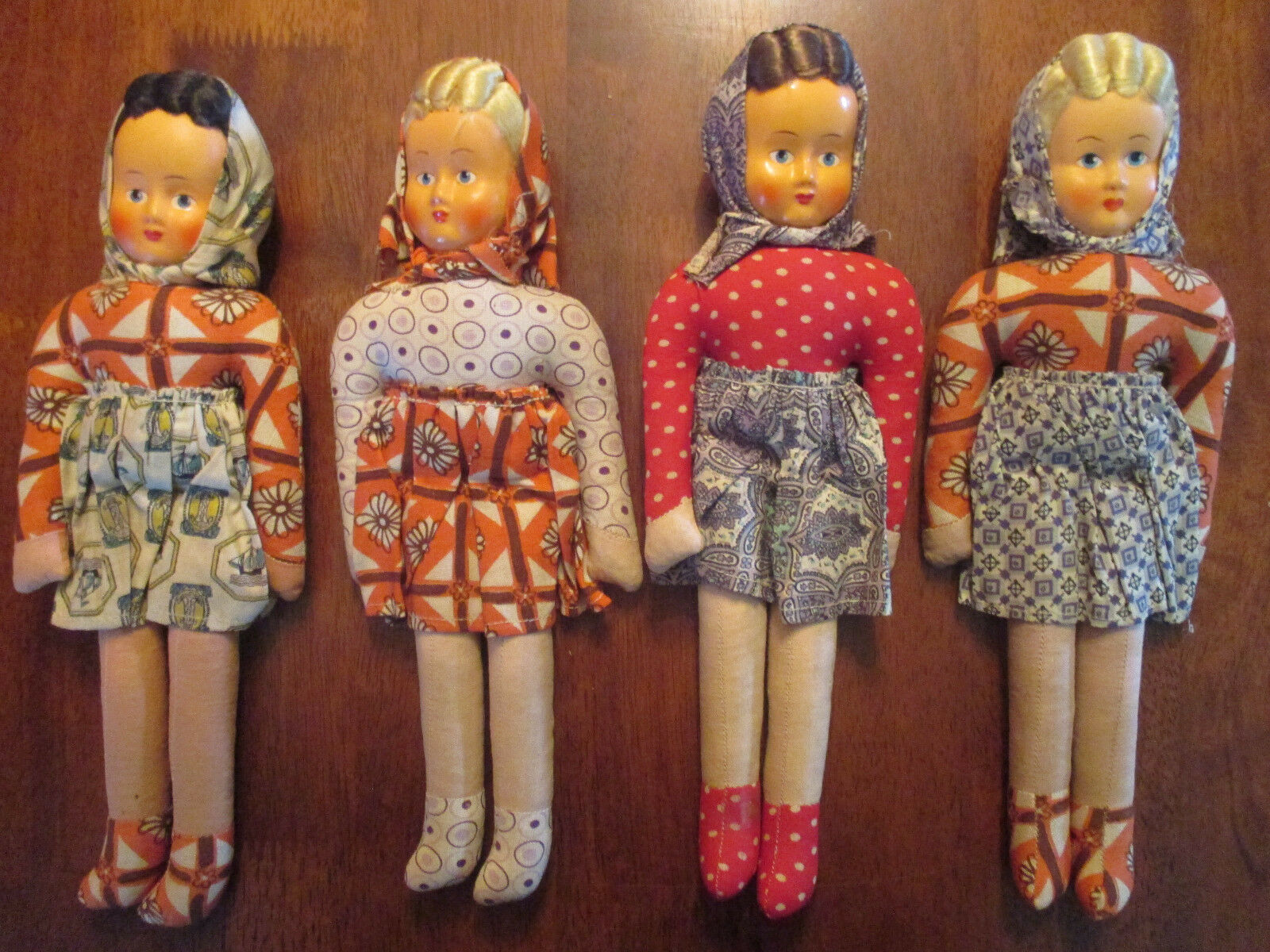 MASK FACE DOLLS Celluloid faces from the 40's. Perfect Condition..4 Polish Dolls