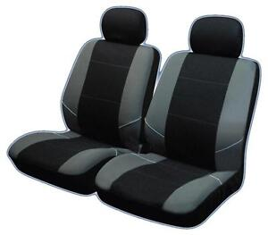 UNIVERSAL-FRONT-CAR-SEAT-COVERS-Inc-Headrests-Black-Grey-Washable-Airbag-Safe