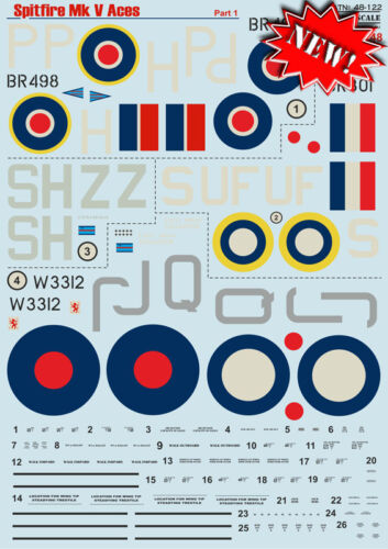 Print Scale 48-122 Part 1-1:48 Decal for Spitfire Mk V Aces