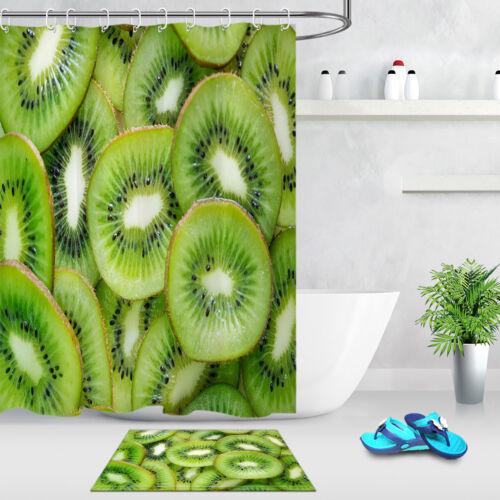 Kiwi Fruit Flesh Bathroom Set Waterproof Shower Curtain Liner Fabric /& 12 Hooks