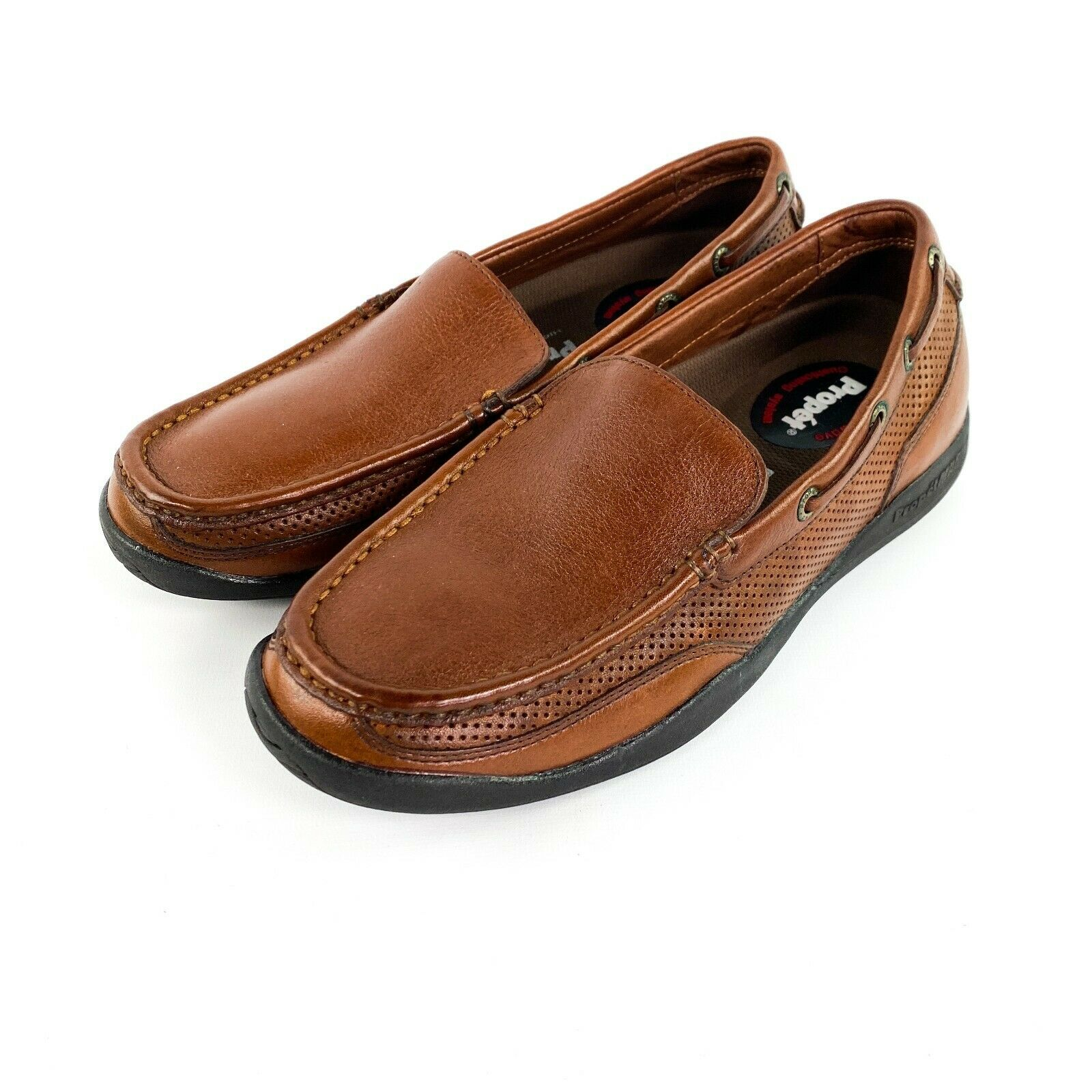 Mens Propét Marine Brown Leather Boat Walking Loafer Shoes Size 8