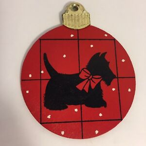 Schnauzer-Puppy-Dog-Silhouette-Red-Round-Snow-Wood-Christmas-Tree-Ornament