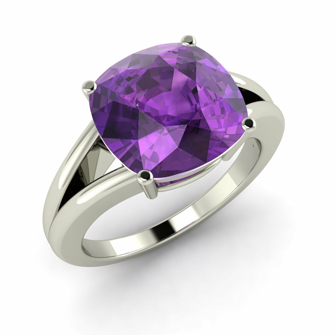 Certified 3.85 Cts Cushion Cut AAA Amethyst 14k Solid White gold Solitaire Ring