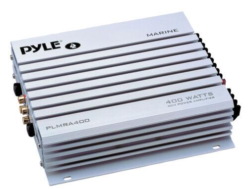 """Marine 4/"""" Speakers Amplifier /& Antenna Bluetooth Silver AM FM Round AUX Radio"""