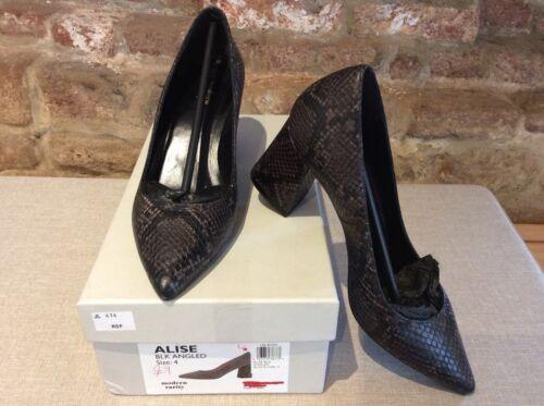 Court Alise Block Heeled 4 Uk Angled Shoes Leather Rarity Black Modern Snake X4Oax