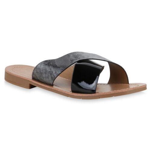 Damen Sandalen Pantoletten Lack Prints Sommerschuhe Schlappen 830622 Schuhe