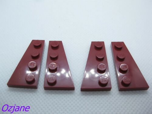 LEGO PART 41770//41769 DARK RED WEDGE PLATE MODIFIED 4X2 RIGHT//LEFT X2PAIR