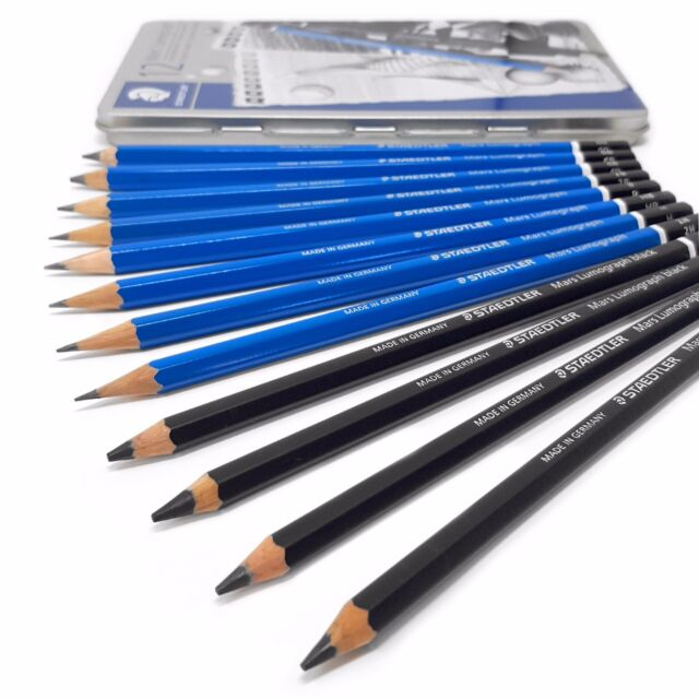 staedtler mars lumograph artist drawing pencils gift tin of 24