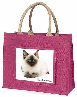 Ragdoll Katze 'Liebe, die Sie Mama' Große Rosa Einkaufstasche Weihnachtsgeschenk
