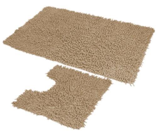 2pc Set Bath Mats Chenille Washable 100/% Cotton Rig Piece Toilet Bathroom Shower