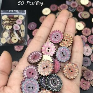 50pcs-Gear-Wooden-Buttons-Scrapbook-Clothing-Crafts-Gift-Card-Sewing-CA