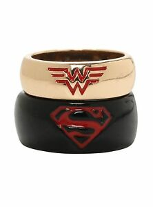 New-Dc-Comics-Black-amp-Gold-Superman-Wonder-Woman-Superhero-His-Hers-Ring-2pc-Set
