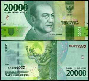Indonesia 20000 Rupiah 2016 P-New New Design Unc 20,000