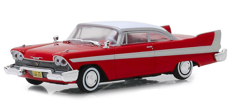 Förlaga 1958 Plymouth Fury röd Christine 1  43 12cm grönljus Hollyträ