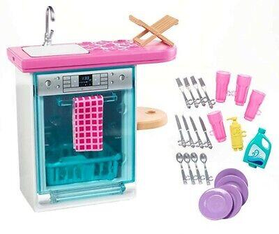 Barbie Mobilier Coffret Lave-vaisselle, Vaisselle Et Accessoires Pour Poupee