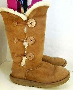 UGG  Australia Womens 8 Winter Boots Brown Suede Mid Calf Sheepskin Lined
