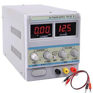 30V-5A-110V-Precision-Variable-DC-Power-Supply-w-Clip-Cable-Digital-Adjustable