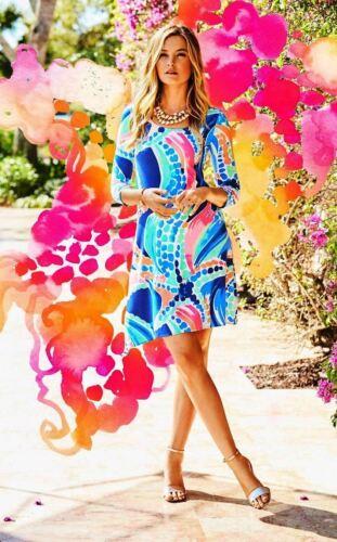 $168 New Lilly Pulitzer ARIANA Asymmetric SWING DRESS Multi Ocean Jewels S M L