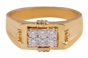 Pave-0-42-Cts-Natural-Diamonds-Wedding-Men-039-s-Ring-In-Solid-Hallmark-14Carat-Gold