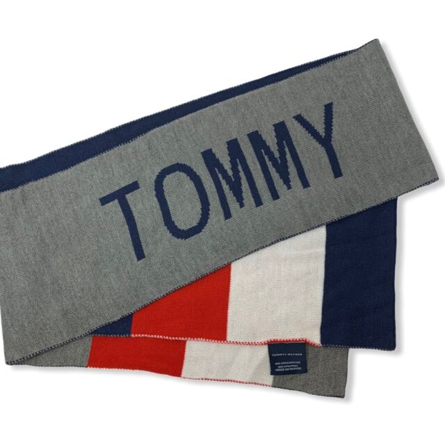 """Tommy Hilfiger Mens Womens Red White Blue Gray Flag One Size Scarf NWT $55 70"""""""